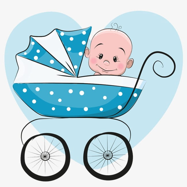 Blue baby stroller sitting PNG clipart.