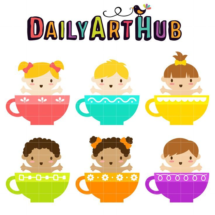 Cute Teacup Babies Clip Art Set.