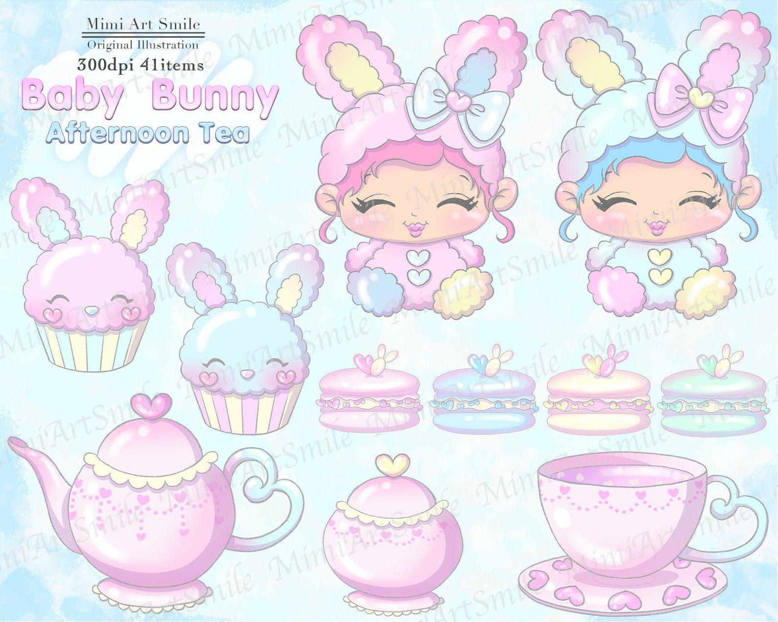 Baby bunny Afternoon Tea Clipart, Teatime Clip art,Teapot.