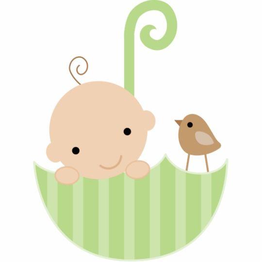 Baby and Bird in Umbrella Cake Topper Statuette.