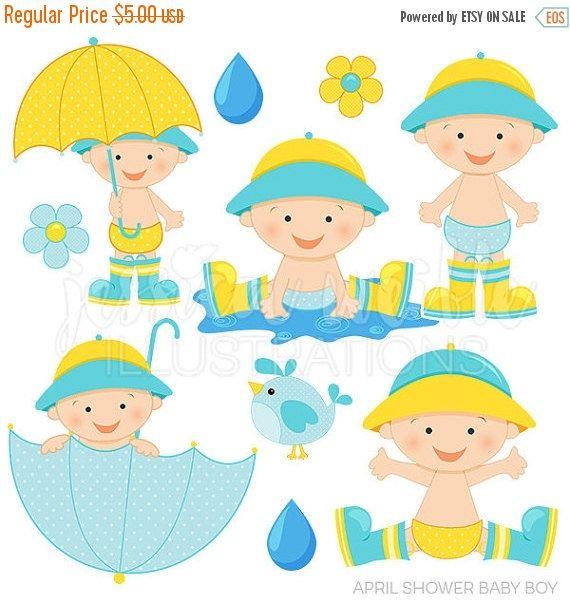 April Shower Baby Boy Cute Digital Clipart, Baby Boy with.