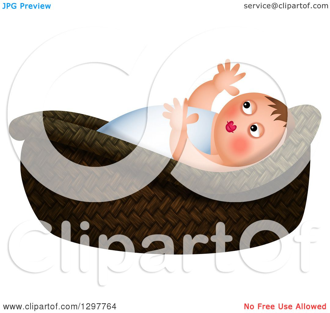 Clipart of Baby Moses in a Basket, over White.