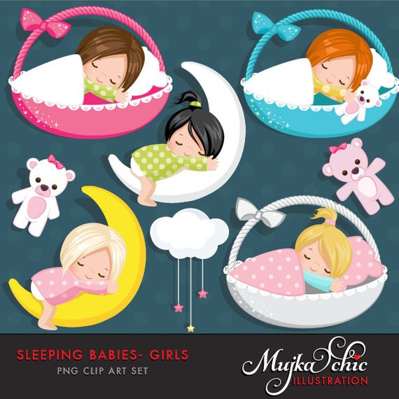 Sleeping Babies in baby baskets Clipart Instant Download Baby.