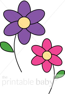 Pink and Purple Flowers Clipart.