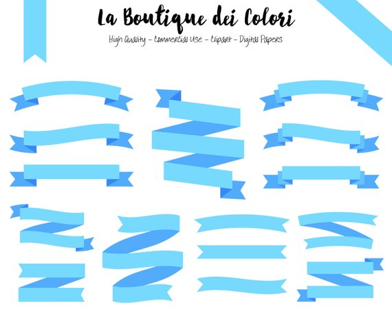 Light blue ribbon banners cliparts Tags Digital Clip Art.