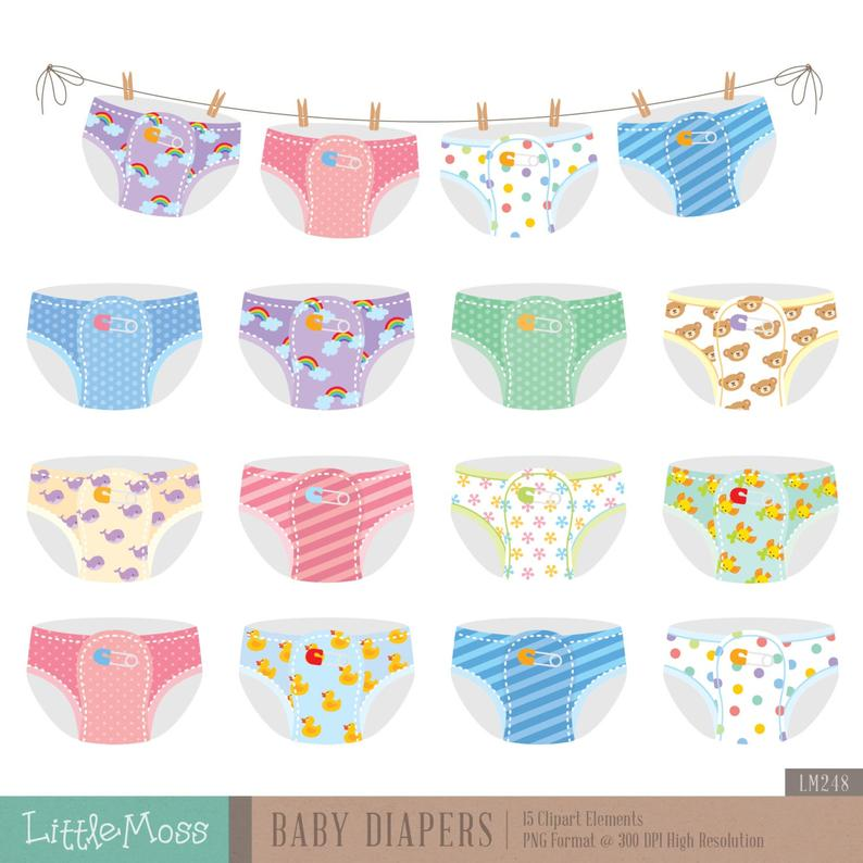 Baby Diapers Digital Clipart.