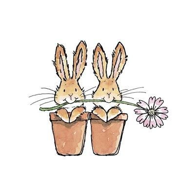 Cute Bunnies in Flower Pots illustration.