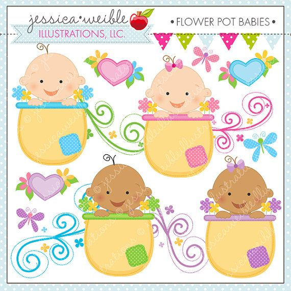 Flower Pot Babies Cute Digital Clipart by JWIllustrations on.