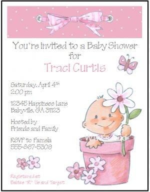 Flower Pot PInk Custom Baby Shower Invitations.