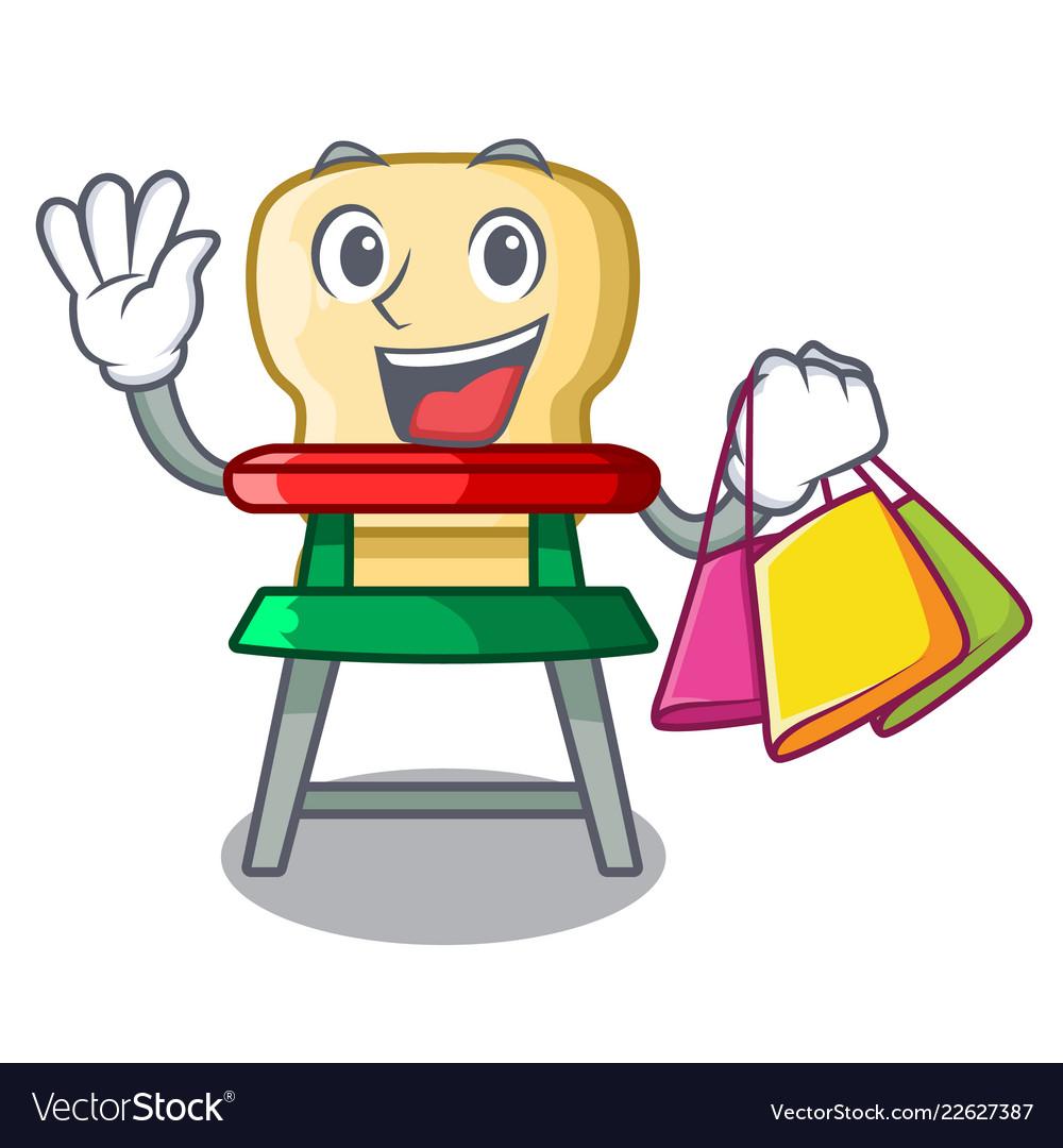 Shopping cartoon baby highchair for kids feeding.
