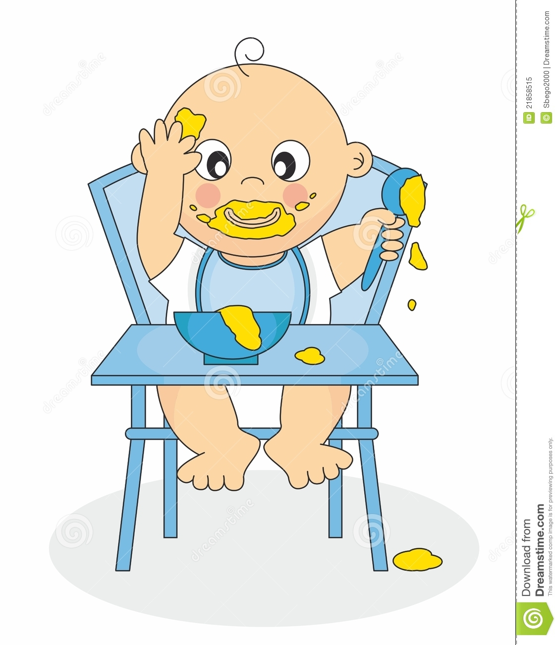 Messy Baby Eating Clipart.