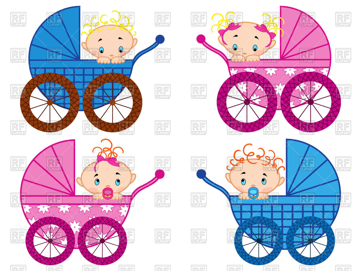 Prams with baby.
