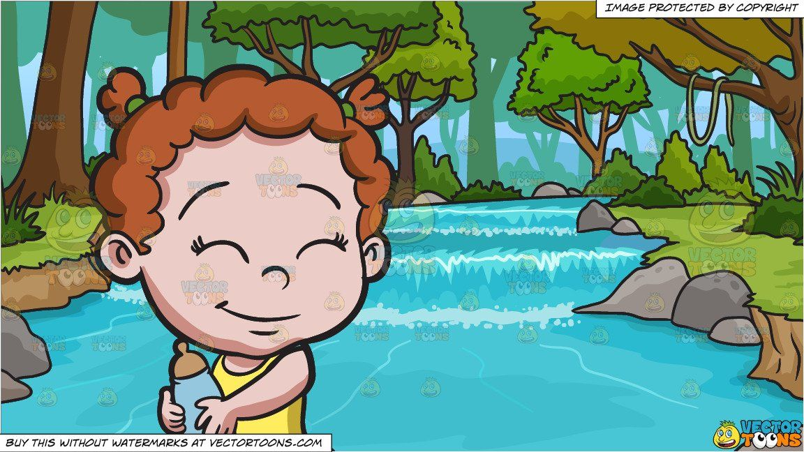clipart #cartoon A Baby Girl Holding Her Feeding Bottle and.