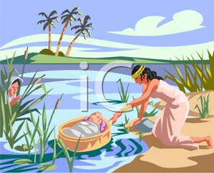 A Depiction of Baby Moses Being Put In a Basket Along a.