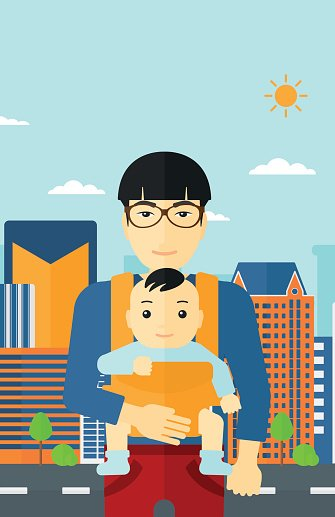 Man holding baby in sling Clipart Image.