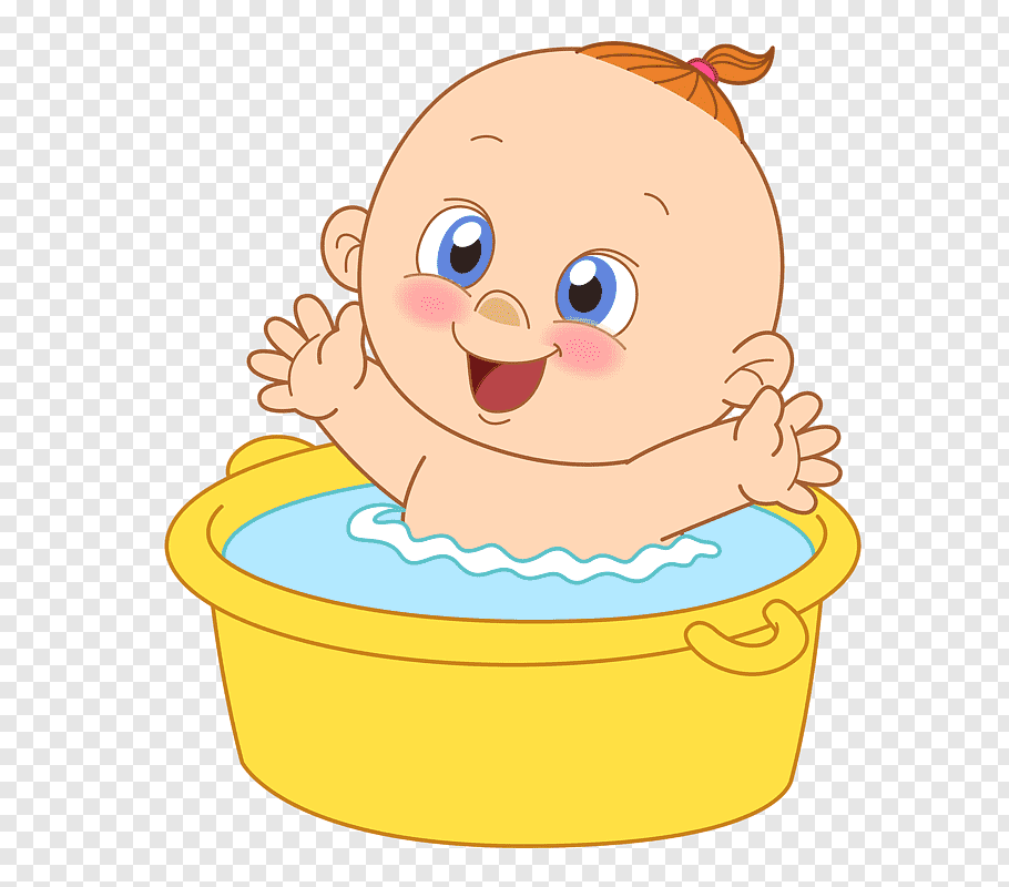Baby in yellow bucket, Infant Bathing Drawing Baby shower.