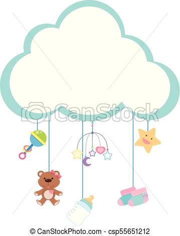 Border template with baby items.