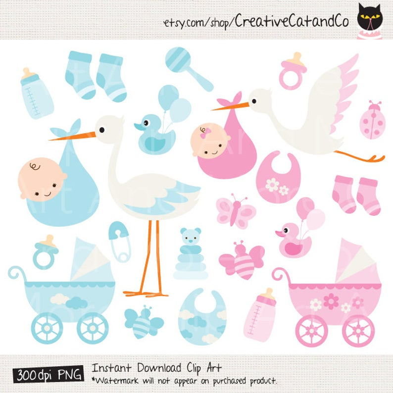 Baby Boy Clipart Baby Girl Clipart Baby Stork Clipart Baby Items Clipart  Baby Stroller Clipart Baby Shower Invitation Clipart.