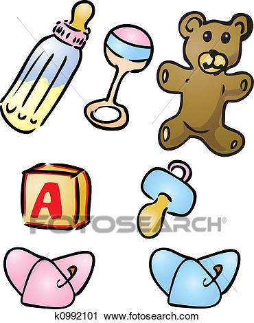 Baby items illustrations Clip Art.