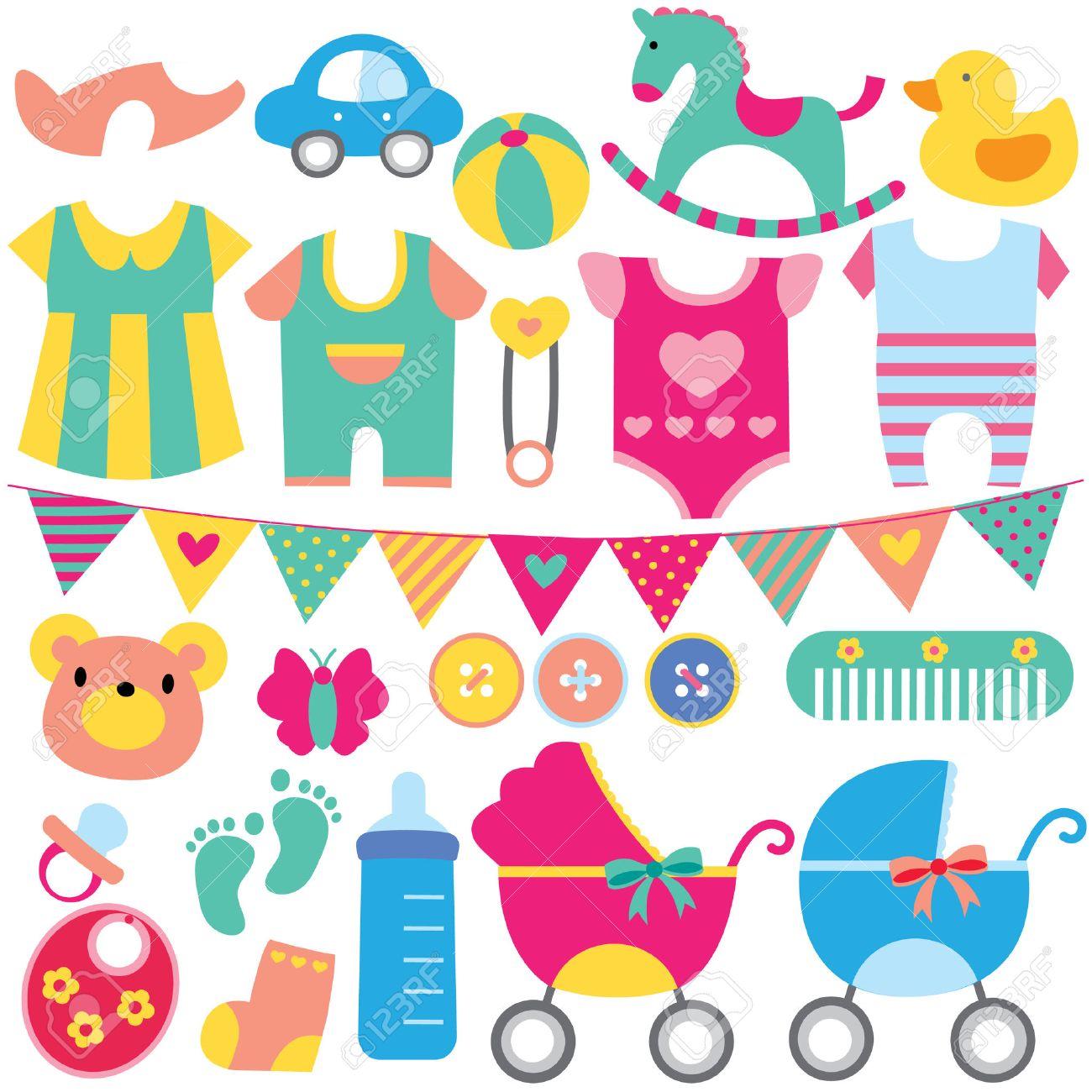 baby objects clip art set.