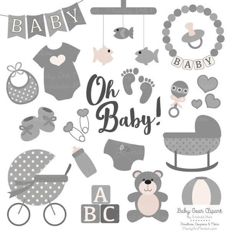 Premium Oh Baby Clipart & Vectors Set in Grey.