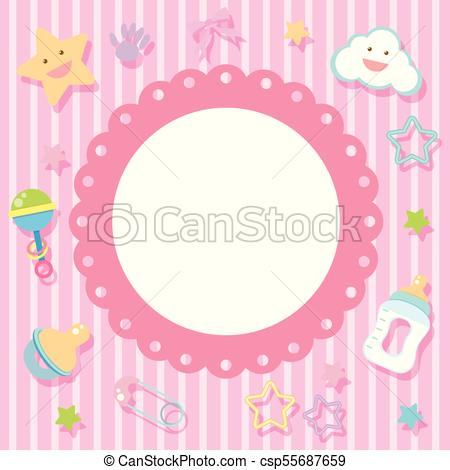 Border template with baby items on pink background.
