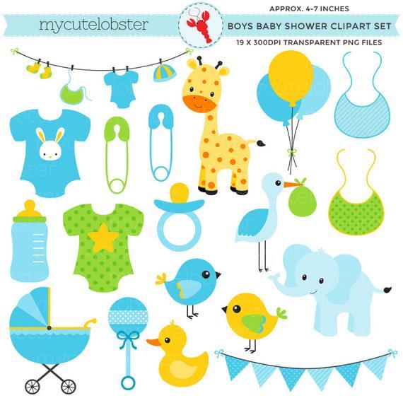 Boy's Baby Shower Clipart Set.