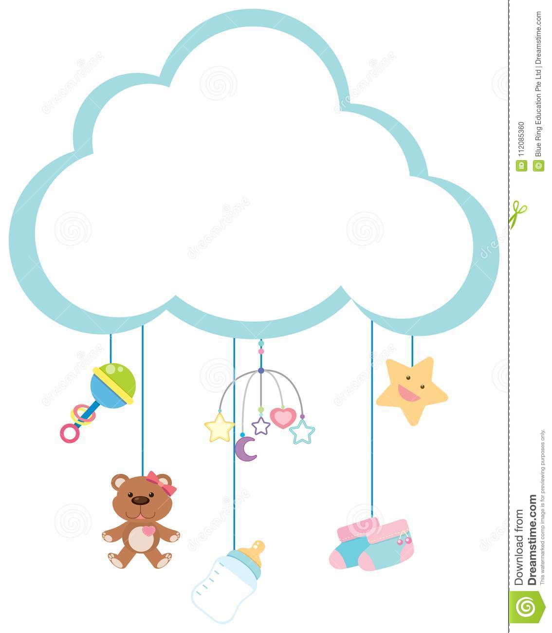 Border Template With Baby Items Stock Vector.