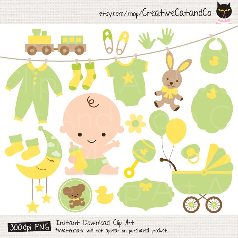 Green Baby Clipart Green Baby Shower Clipart Neutral Gender Baby Shower  Clipart Green Yellow Baby Clipart Clip Art Baby Stroller Clipart.