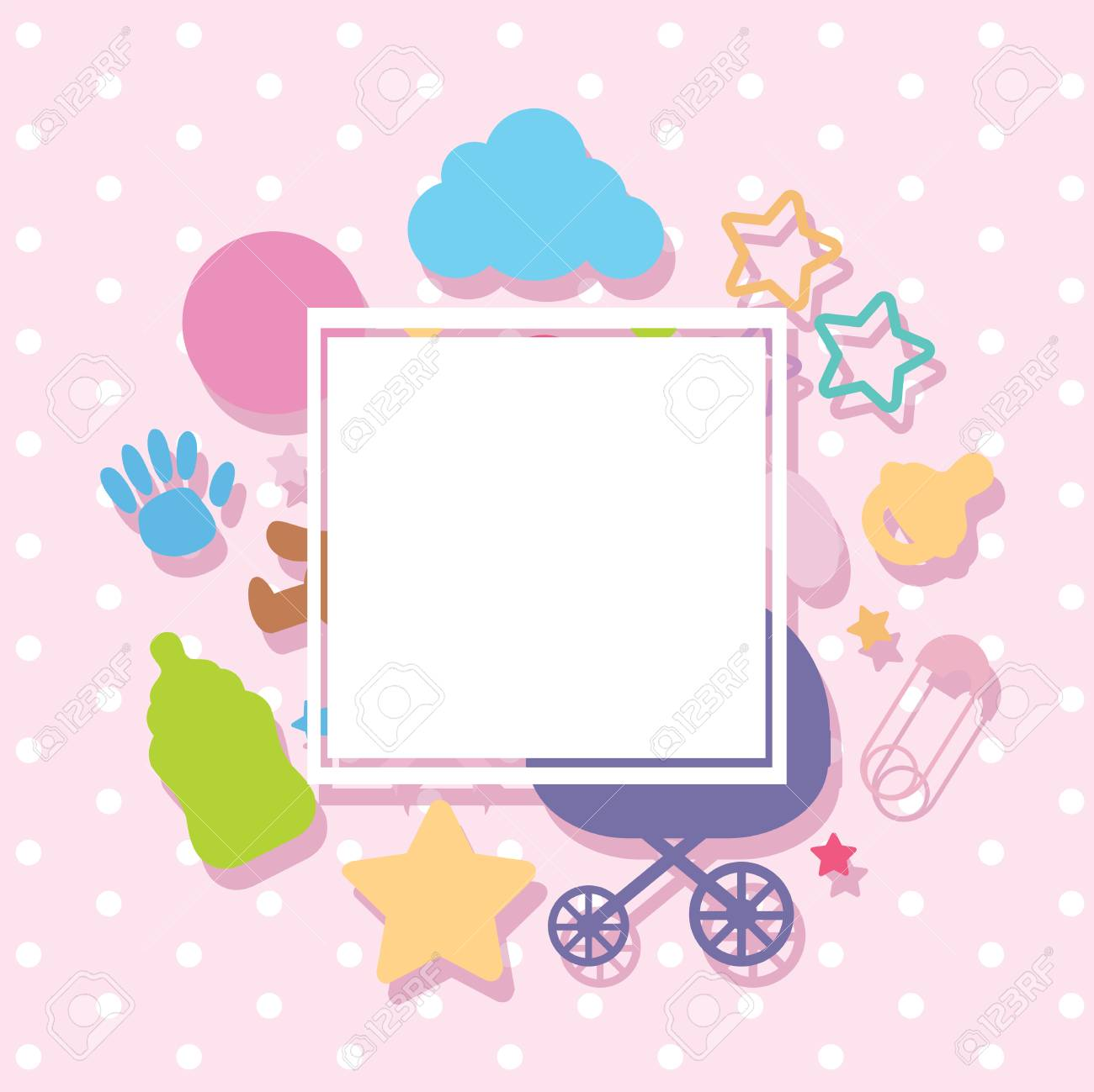 Border template with baby items illustration.