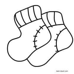 Black and white baby socks clipart.