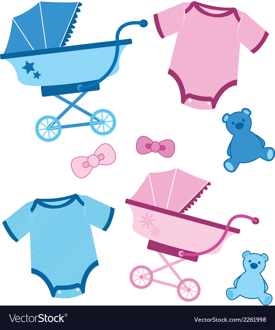 Blue and pink baby items for boys and girls.