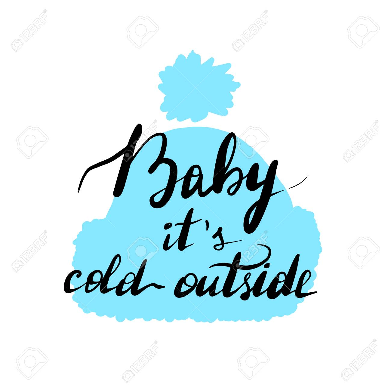 Lettering inscription baby it's cold outside. Vector illustration...