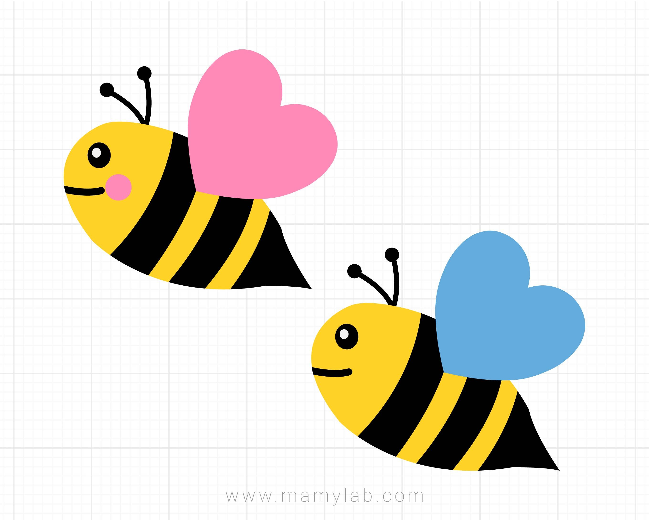 Bee Svg, Bee Girl Boy Svg, Bumble Bee Svg, Dxf, Baby, Kids, Newborn Svg,  Kawaii Bees Clipart, Spring Svg, Cricut & Silhouette Cut Files.