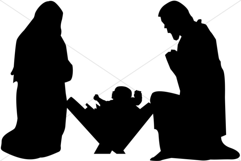 Mary, Joseph and Baby Jesus Silhouette.