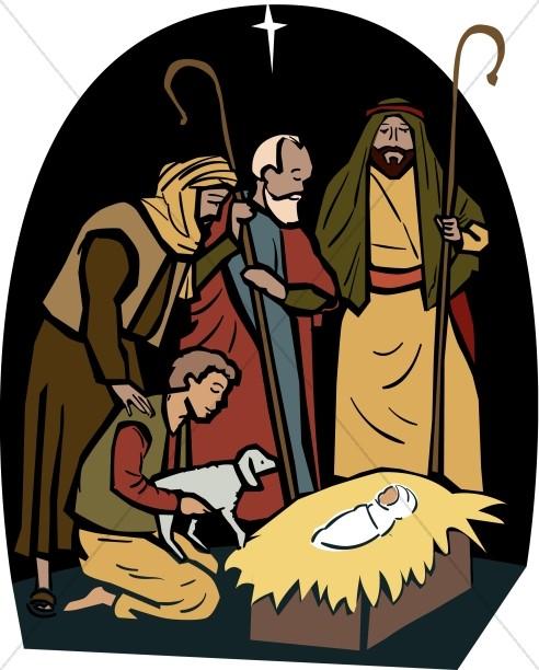 The Shepherds Visit the Manger.