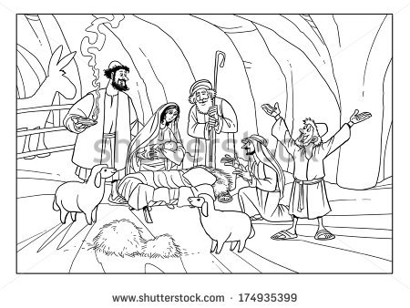 Christmas Story Shepherds Stable Joseph Mary Stock Illustration.