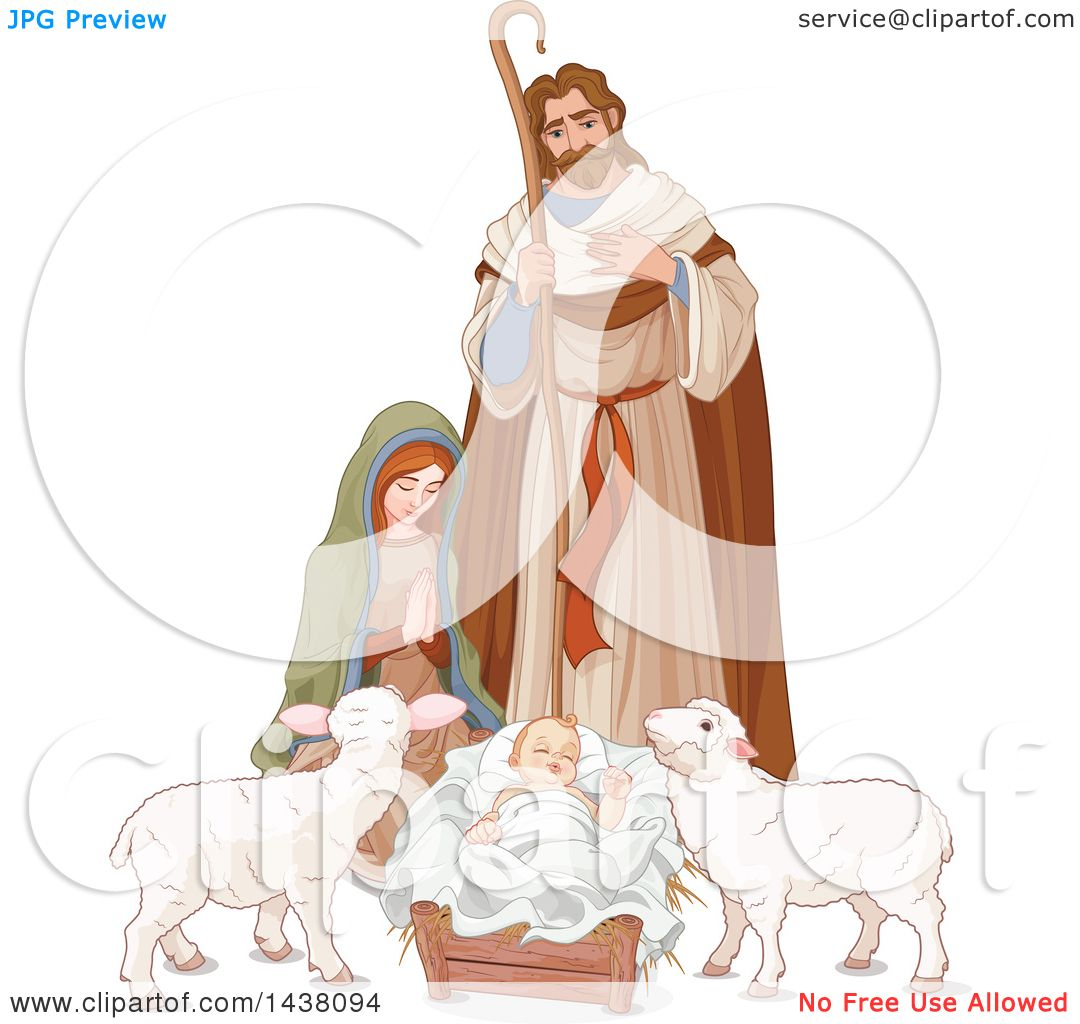 Clipart of a Loving Shepherd, Joseph Looking down at Mary and Baby.