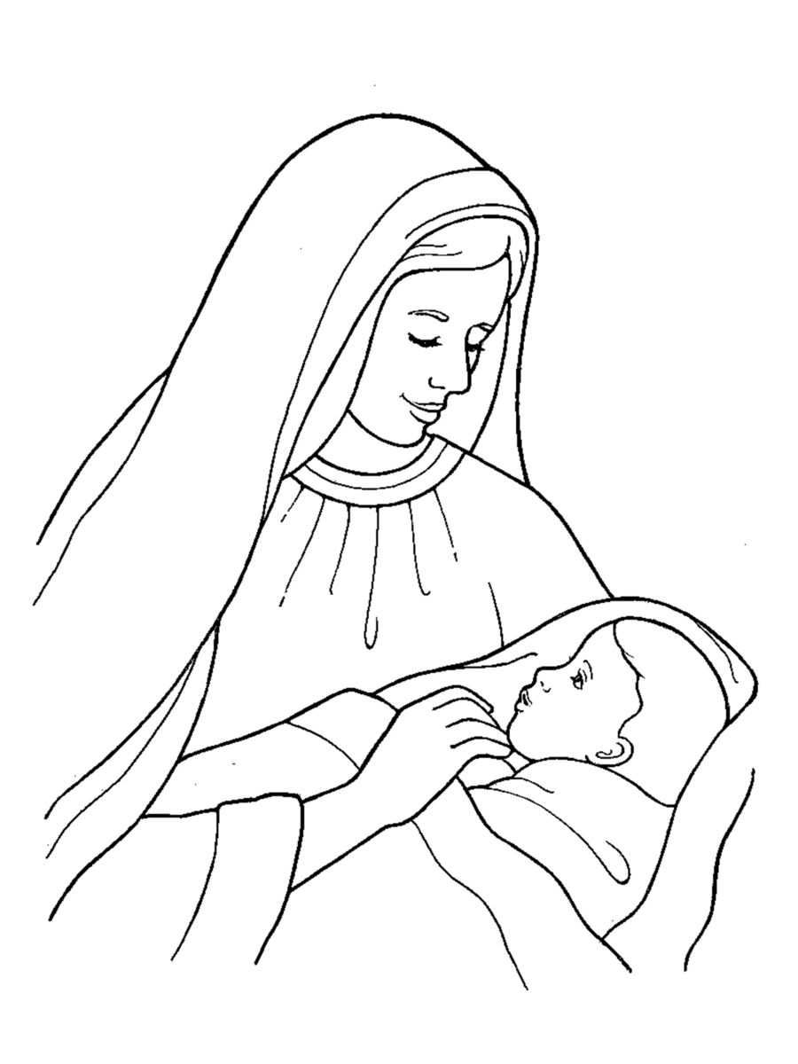 mary holding jesus black and white clipart Christ Child Drawing Clip.