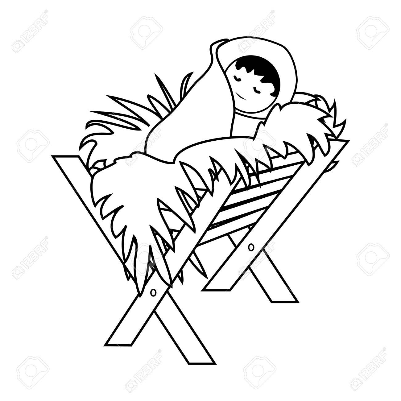 Baby Jesus Christ in the Manger.Outline Figure Icon Symbol Design.