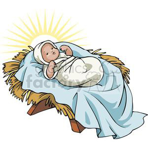 Baby Jesus in a Manger Glowing clipart. Royalty.