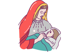 Mary with Baby Jesus Clip Art (Free).