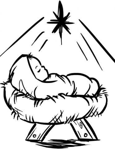 Baby Jesus Manger Scene coloring page.