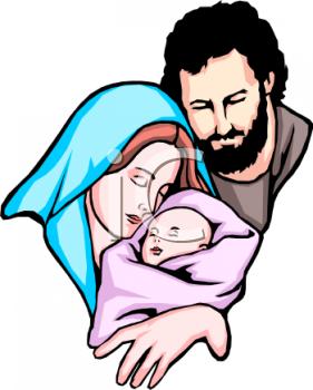 Joseph and Mary and Baby Jesus.