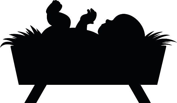 A vector illustration of a baby Jesus silhouette..