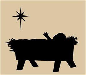 Baby Jesus In A Manger Silhouette Primitive topper stencil.