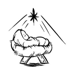 Baby Jesus in a manger pattern art stamp.