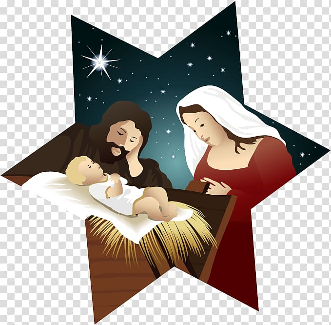 Nativity illustration, Bethlehem Christmas Holy Family.