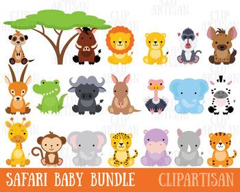 Safari Baby Animals Clipart / Jungle Animals Clipart / Zoo Animals Clipart.