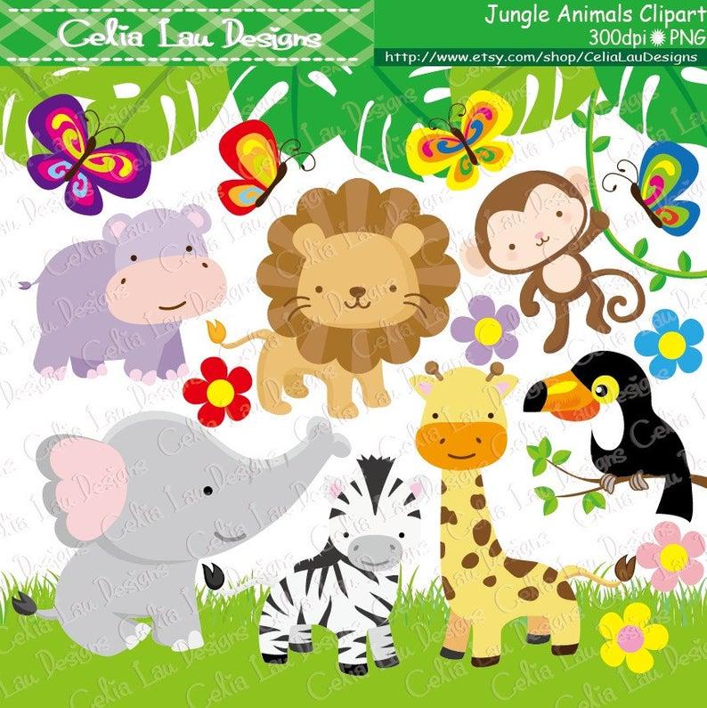 Jungle Animals Clipart , Baby Jungle Animals Clipart, / Safari Jungle  Animal Clipart , Cute Animals ( A009 ) / INSTANT DOWNLOAD.